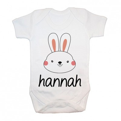 Baby Grow Little Bunny Face Personalised