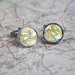 County Style Map Cufflinks Personalised