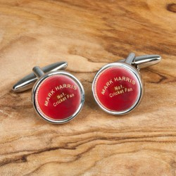Cricket Ball Cufflinks Personalised