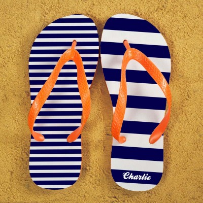 Personalised Striped Flip Flops