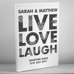 Live Love Laugh Canvas Personalised