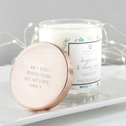Bergamot & Clary Sage Candle With Copper Lid Personalised