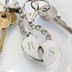 Initials Two Hearts Keyring Personalised
