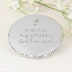 Personalised Butterfly Round Compact Mirror