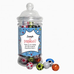 Personalised Comic Pageboy Choc Balls Jar