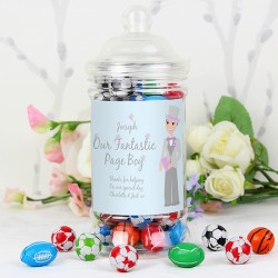 Personalised Fab Pageboy Choc Balls Jar