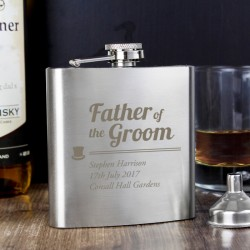 Personalised Father of the Groom Hip Flask