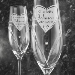 Personalised Hand Cut Big Heart Pair of Flutes with Swarovski Elements with Gift Box