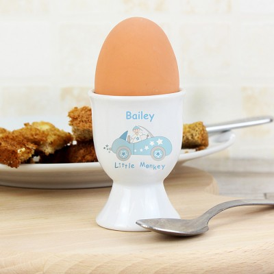 Personalised Little Monkey in Car Egg Cup