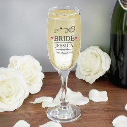Personalised Mr & Mrs Bride Glass Flute