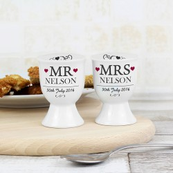 Personalised Mr & Mrs Pair of Egg Cups
