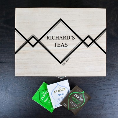 Personalised Gentlemen's Teas Wooden Tea Box
