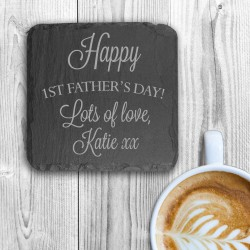 Happy 1st Father's Day Square Slate Keepsake