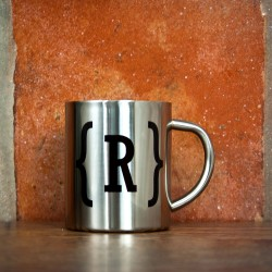Monogram Swirl Bracket Silver Outdoor Mug