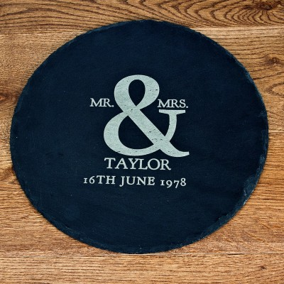 Mr and Mrs Roman Ampersand Round Slate Cheese Board