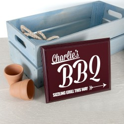Personalised BBQ This Way! Garden Plaque
