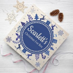 Personalised Christmas Eve Box With Snowflake Wreath