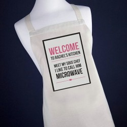 Personalised Microwave Apron Pink or Blue