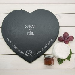 """Romantic Pun """"Life is So Much Cheddar"""" Heart Slate Cheese Board"""""""