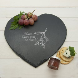 """Romantic Pun """"Olive You So Much"""" Heart Slate Cheese Board"""""""