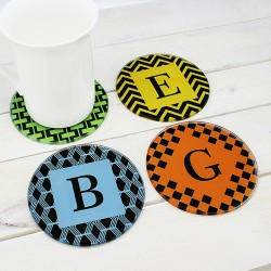 Set of Four Glass Coasters - Art Deco Design
