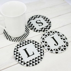 Set of Four Glass Coasters - Black & White Design