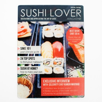 Personalised Sushi Lover Magazine Glass Chopping Board
