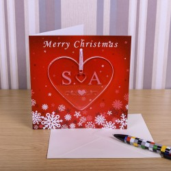 Greeting Card with Heart Decoration Initials