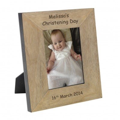 Name Christening Wood Frame 7x5