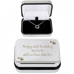 Butterfly Heart Necklace and Box Personalised