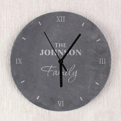 Family Slate Clock Personalised