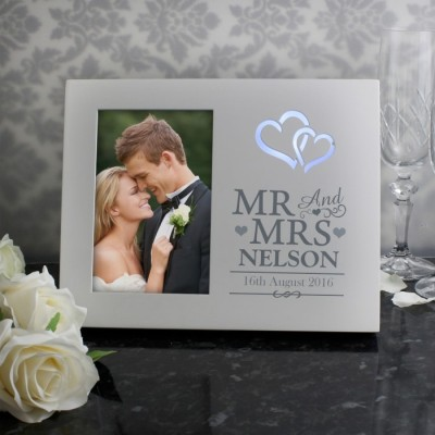 Hearts Mr & Mrs 4x6 Light Up Frame Personalised