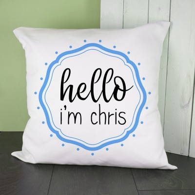 Hello Baby In Blue Frame Cushion Cover Personalised