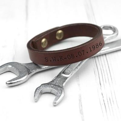 Men's Brown Leather Bracelet Personalised