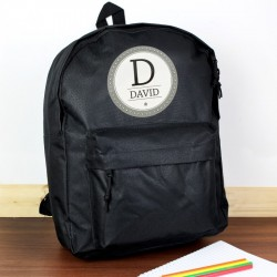 Personalised Star Name Black Backpack