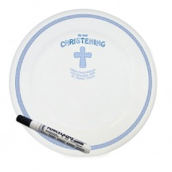 Personalised Cross Blue Christening Message Plate