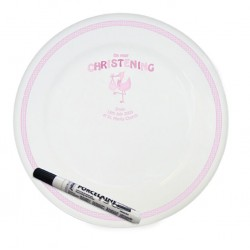 Personalised Stork Pink Christening Message Plate