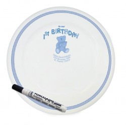 Personalised Teddy Blue 1st Birthday Message Plate