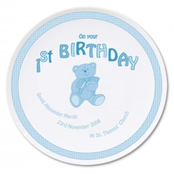Personalised Teddy Blue 1st Birthday Plate