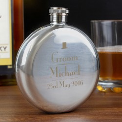 Personalised Decorative Wedding Groom Round Hip Flask