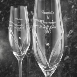Personalised Hand Cut Heart Pair of Flutes with Swarovski Elements with Gift Box