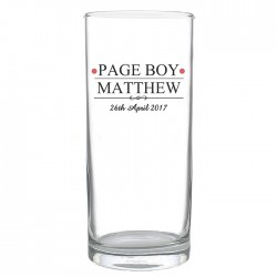 Personalised Mr & Mrs Page Boy Hi Ball Glass
