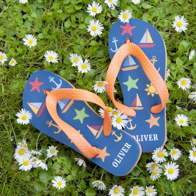 All The Fun At The Beach Child's Personalised Flip Flops In Navy