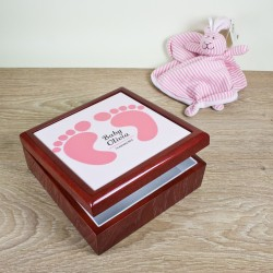 Baby Feet Keepsake Box - Blue and Pink
