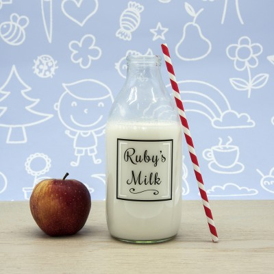 Children's Personalised Milk Bottle & Straw