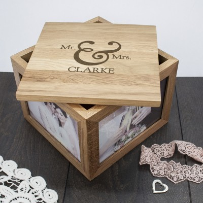 Classic Mr & Mrs Oak Photo Keepsake Box