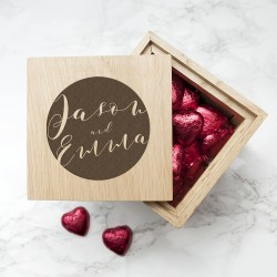 Engraved Typography Oak Photo Cube