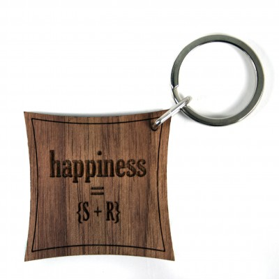 Happiness Equation Walnut Keyring