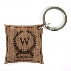 Initial of Honour Walnut Keyring With Personalisation