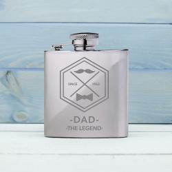 Legend Dad's Silver Hip Flask